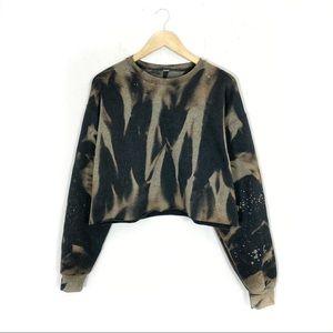 Oversized Black Crop top Bleached sweatshirt S-5X